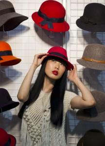 Model at showcase